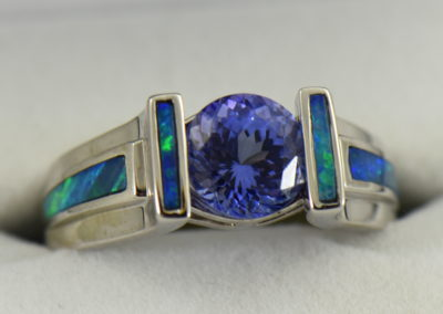 Custom Tanzanite Ring with Opal Inlay in White Gold