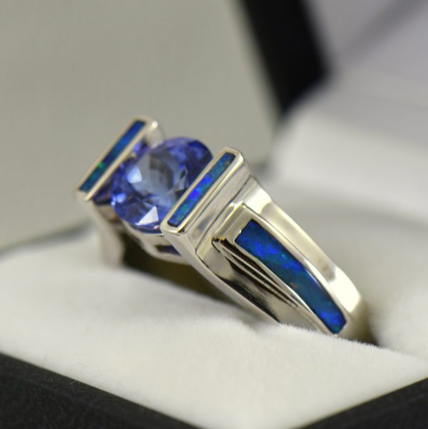 Custom Tanzanite Ring with Opal Inlay in White Gold 2