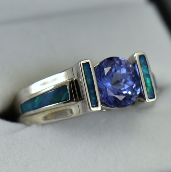 Custom Tanzanite Ring with Opal Inlay in White Gold 3