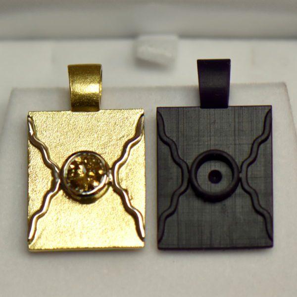 Custom Wax Cast Brand Pendant with 1ct Round Champagne Diamond