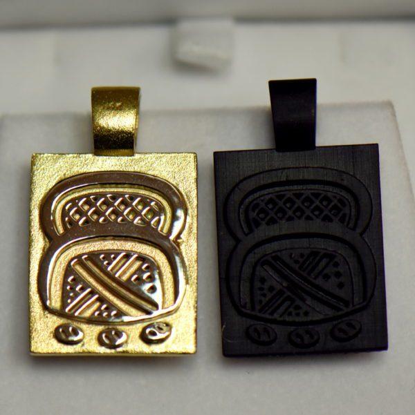Custom Wax Cast Brand Pendant with 1ct Round Champagne Diamond 2