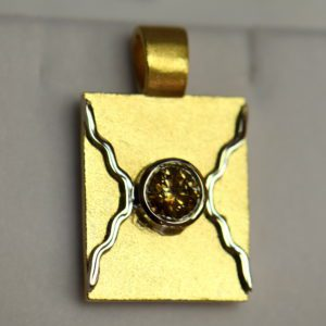 Custom Wax Cast Brand Pendant with 1ct Round Champagne Diamond 3