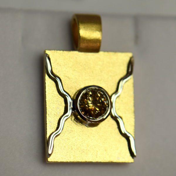 Custom Wax Cast Brand Pendant with 1ct Round Champagne Diamond 3