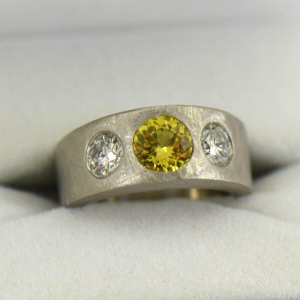 Custom Yellow Sapphire and Diamond Flush Set Platinum Wedding Band