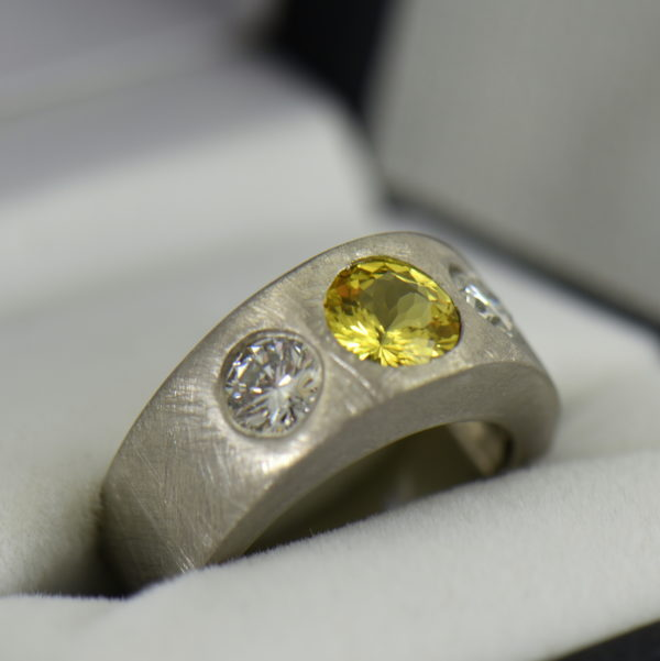 Custom Yellow Sapphire and Diamond Flush Set Platinum Wedding Band 2