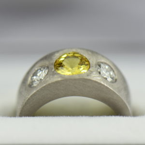 Custom Yellow Sapphire and Diamond Flush Set Platinum Wedding Band 3 1