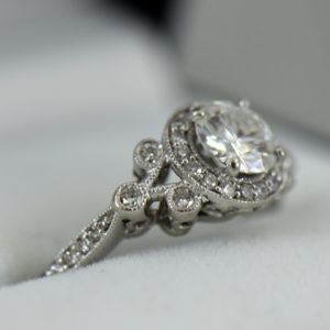 Custom vintage style moissanite halo ring in white gold 2