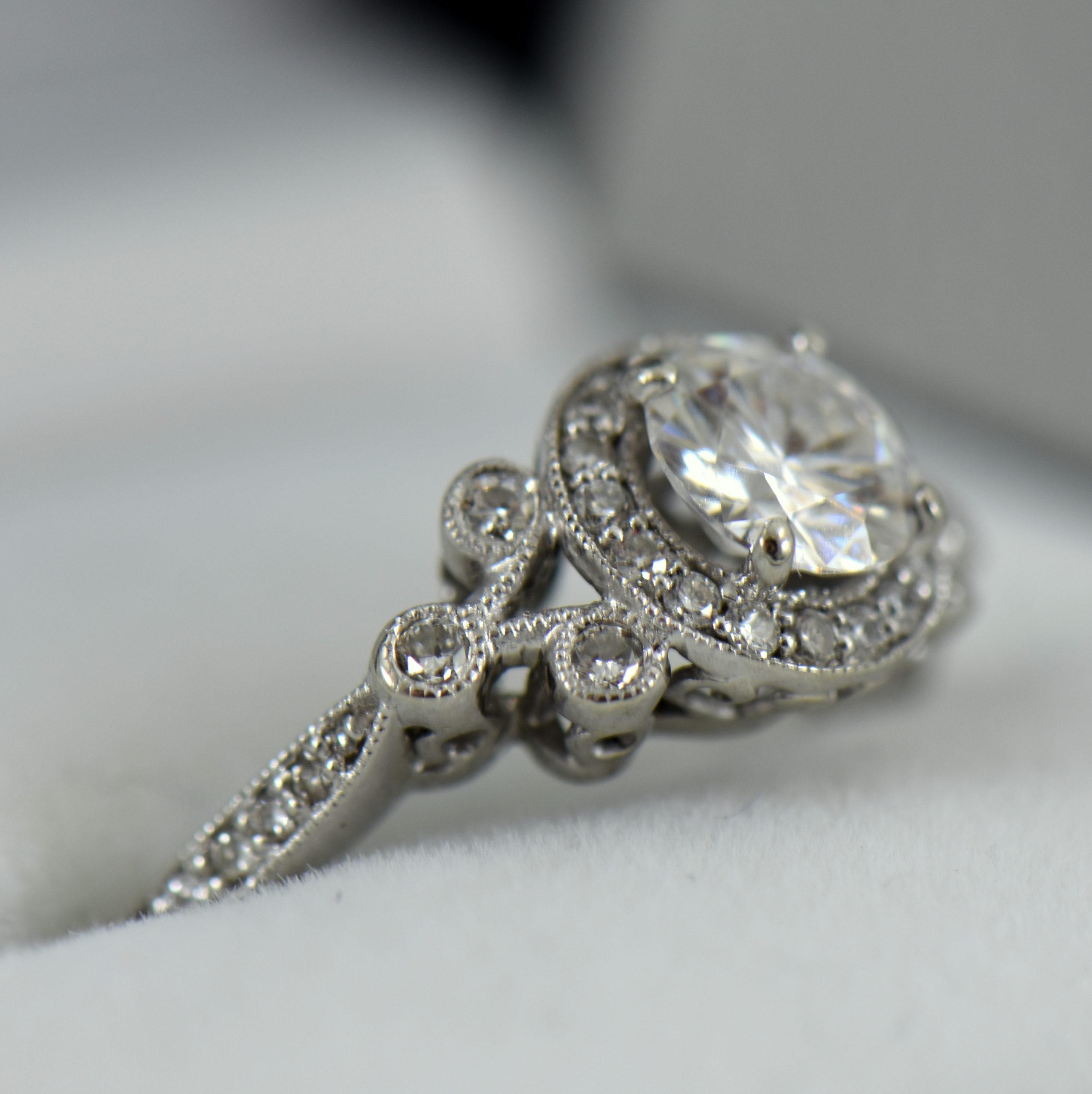 Custom vintage style moissanite halo ring in white gold 2