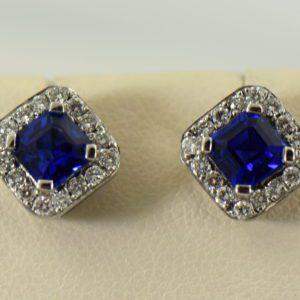 Gina s Asscher Cut Blue Sapphire and Diamond Halo Stud Earrings
