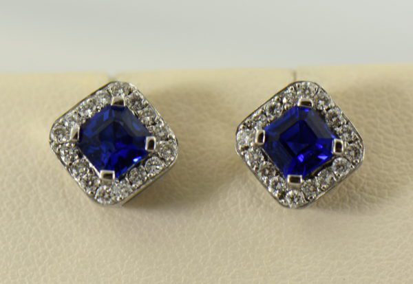Gina s Asscher Cut Blue Sapphire and Diamond Halo Stud Earrings