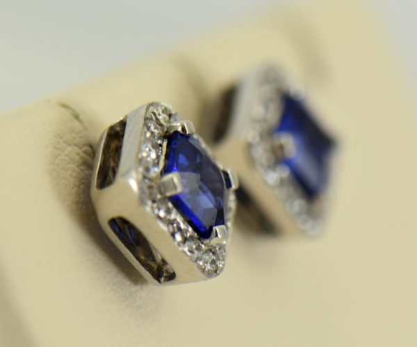 Gina s Asscher Cut Blue Sapphire and Diamond Halo Stud Earrings 2