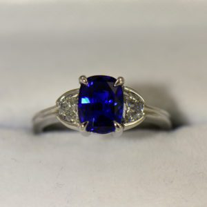 Gina s Ceylon Royal Blue Sapphire and Half Moon Diamond Platinum Engagement Ring
