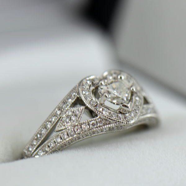 Heart Shape Diamond Halo Ring Platinum 2