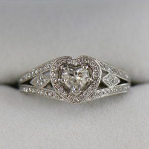 Heart Shape Diamond Halo Ring Platinum 3