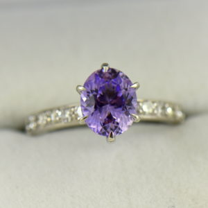 Natural Lavender Purple Sapphire Engagement Ring White Gold