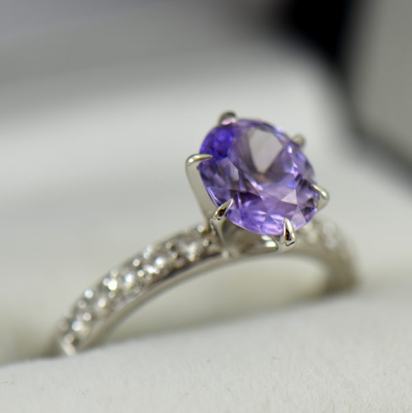 Natural Lavender Purple Sapphire Engagement Ring White Gold 2