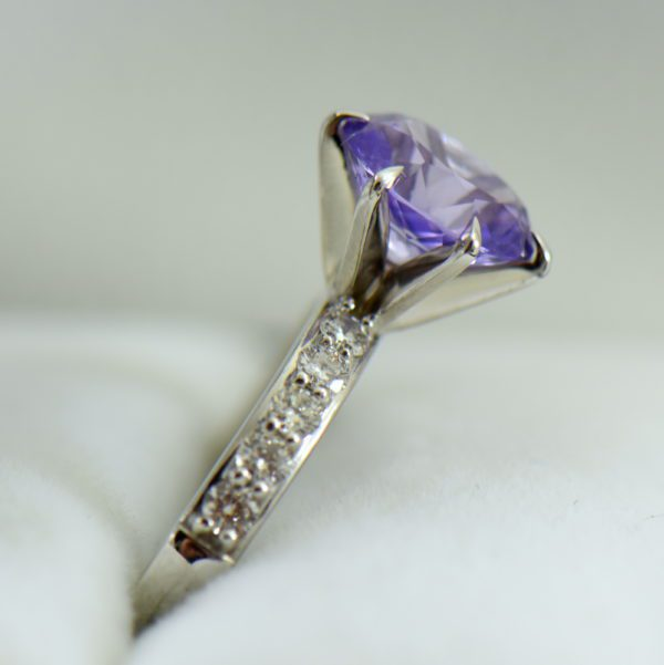 Natural Lavender Purple Sapphire Engagement Ring White Gold 3