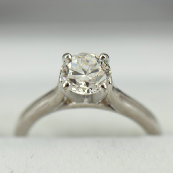 Platinum Solitaire Engagement Ring with Half Carat Modern Euro Diamond