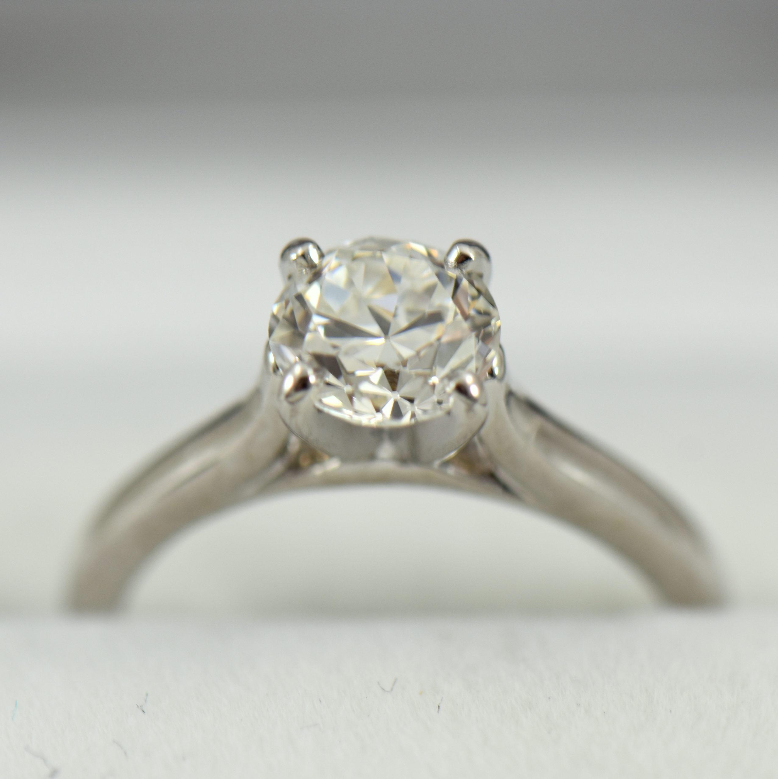 Platinum Solitaire Engagement Ring with Half Carat Modern Euro Diamond