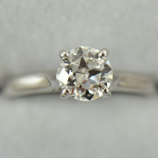Platinum Solitaire Engagement Ring with Half Carat Modern Euro Diamond 3