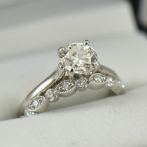 Platinum Solitaire Engagement Ring with Half Carat Modern Euro Diamond with Milgrain Band