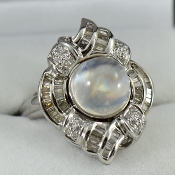 Rainbow Moonstone and Diamond White Cold Cocktail Ring