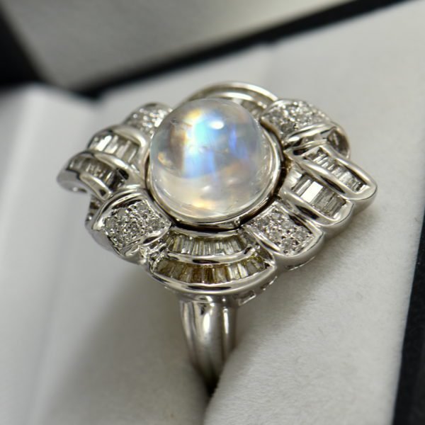 Rainbow Moonstone and Diamond White Cold Cocktail Ring 2