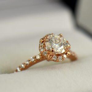 Rose Gold Halo Engagement Ring with Forever One Colorless Round Moissanite 2