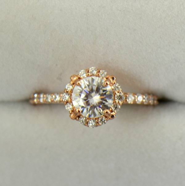Rose Gold Halo Engagement Ring with Forever One Colorless Round Moissanite 3