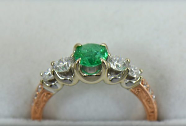 Round Colombian Emerald and Diamond 5 Stone Engagement Ring in Rose and White Gold 2