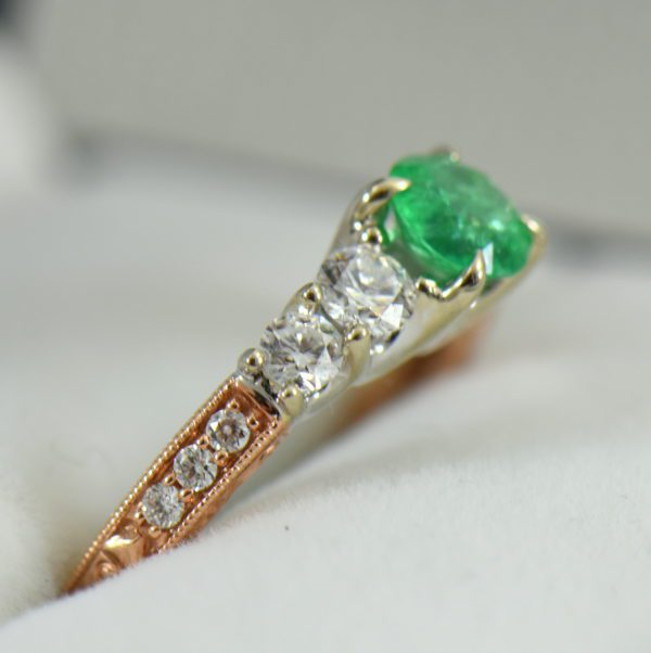 Round Colombian Emerald and Diamond 5 Stone Engagement Ring in Rose and White Gold 3