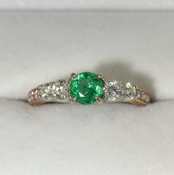 Round Colombian Emerald and Diamond 5 Stone Engagement Ring in Rose and White Gold 4