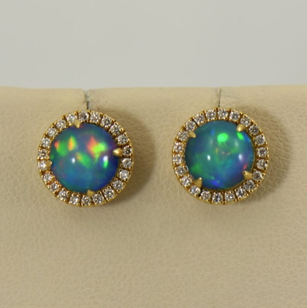 Round Ethiopian Opal and Diamond Halo Earrings