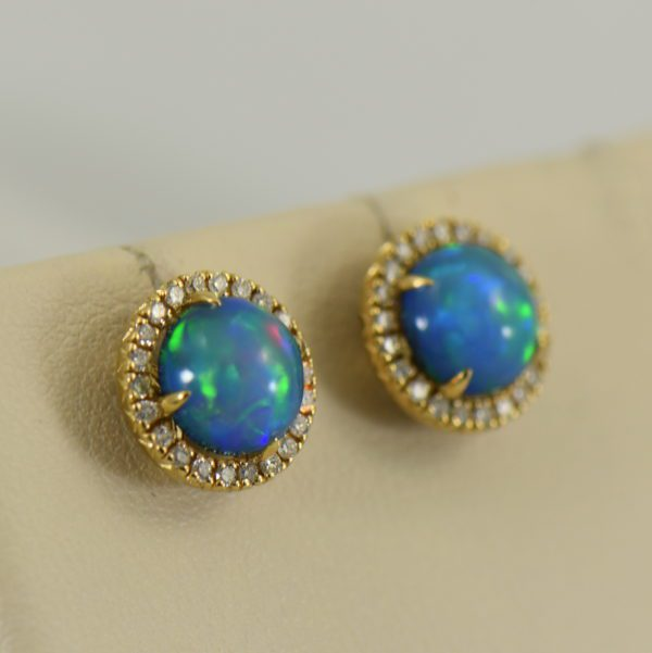 Round Ethiopian Opal and Diamond Halo Earrings 2