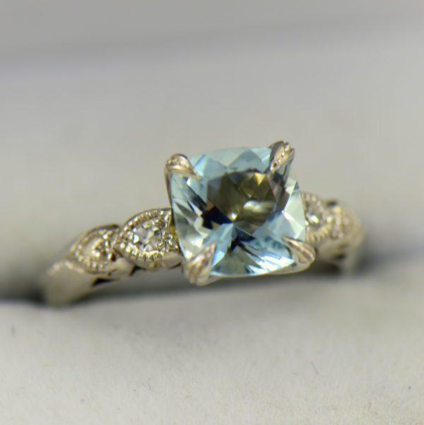 Vintage Aquamarine Engagment Ring Upcycled White Gold Milgrain Mounting