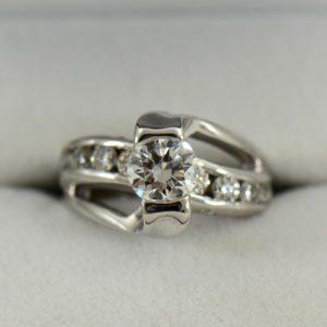 1.07ct GIA VS1 F EX EX EX Recut Chipped Diamond Ring Repair