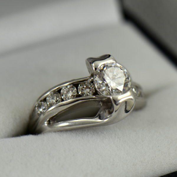 1.07ct GIA VS1 F EX EX EX Recut Chipped Diamond Ring Repair 2