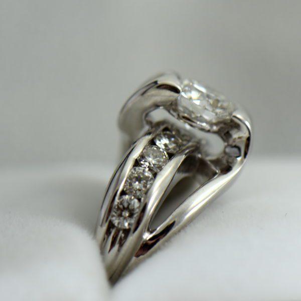 1.07ct GIA VS1 F EX EX EX Recut Chipped Diamond Ring Repair 3