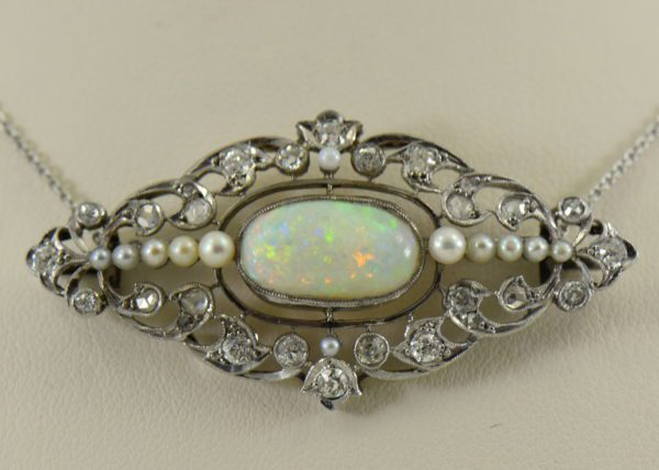 Amazing Art Deco Platinum Necklace with Australian Opal Diamonds  Pearls circa 1920s 3