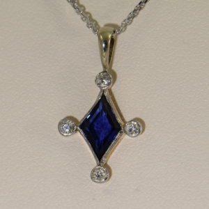 Antique Blue Sapphire  Diamond Pendant Stickpin Conversion Platinum over Gold
