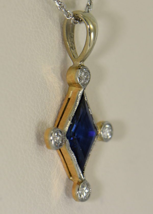 Antique Blue Sapphire  Diamond Pendant Stickpin Conversion Platinum over Gold 3