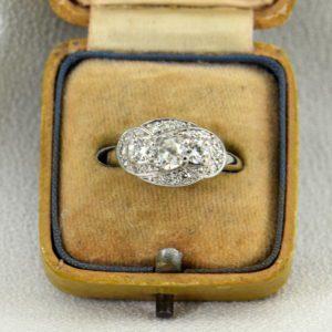 Art Deco Mine Cut Diamond 3 Stone Ring White Gold