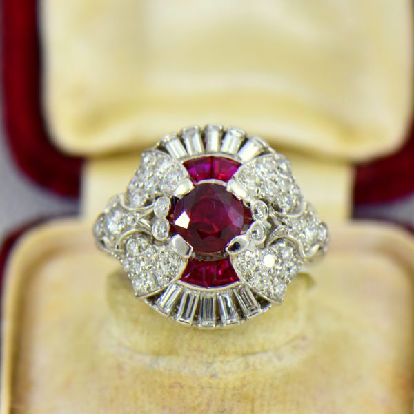 Art Deco Platinum Ring with Natural Ruby  Diamonds