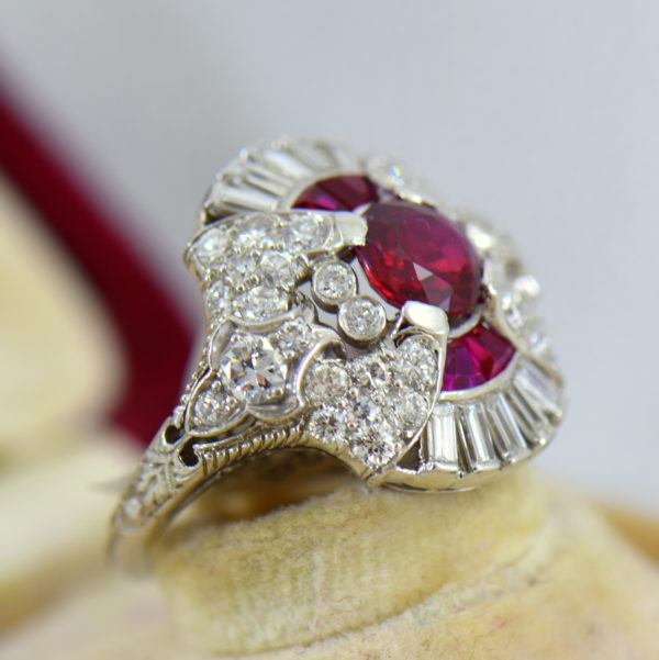 Art Deco Platinum Ring with Natural Ruby  Diamonds 4