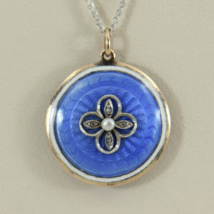Blue Enamel Pearl  Rose Cut Diamond Pendant