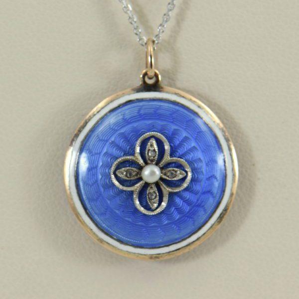 Blue Enamel Pearl  Rose Cut Diamond Pendant