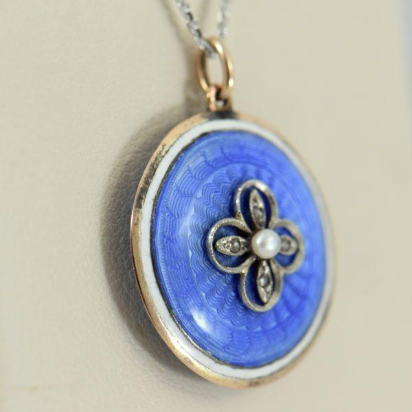 Blue Enamel Pearl  Rose Cut Diamond Pendant 2