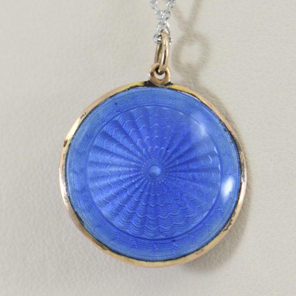 Blue Enamel Pearl  Rose Cut Diamond Pendant 3