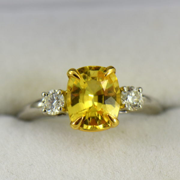 Cushion Cut Unheated Yellow Sapphire  Diamond 3 Stone Ring in Platinum