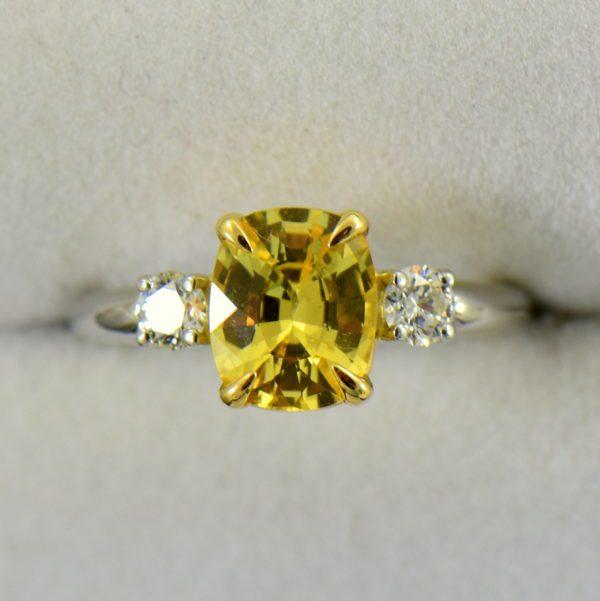Cushion Cut Unheated Yellow Sapphire  Diamond 3 Stone Ring in Platinum 2